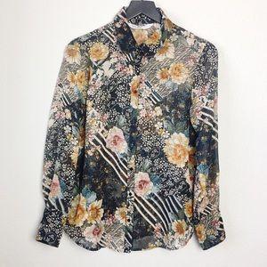 Zara Basic Z1975 Denim Floral Button-Down Blouse